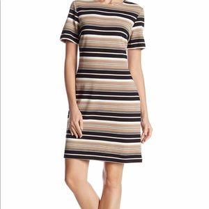 Metallic striped crew neck dress
